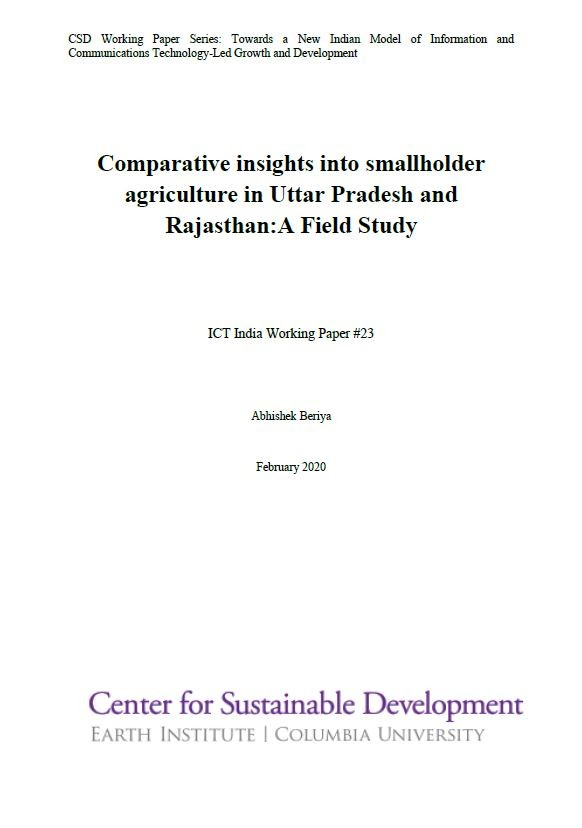 Comparative Insights into Smallholder Agriculture in Uttar Pradesh and Rajasthan: A Field Study