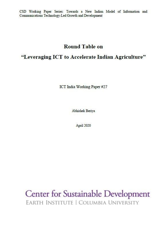 "Round Table on ""Leveraging ICT to Accelerate Indian Agriculture"""