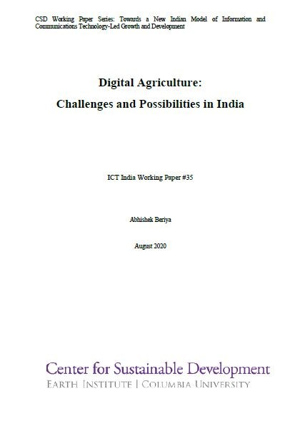 Digital Agriculture: Challenges and Possibilities in India