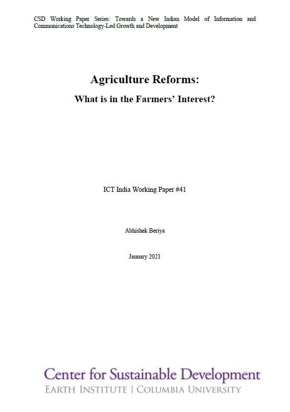 Agriculture Reforms: What is in the Farmers' Interest?