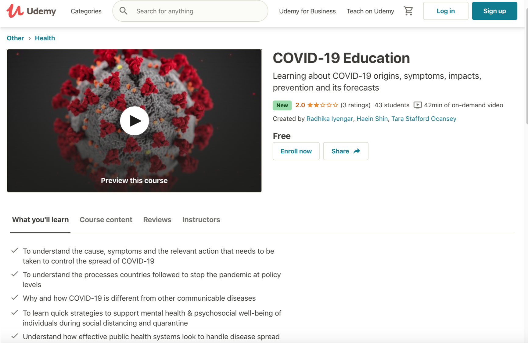 COVID-19 Udemy Course Screenshot