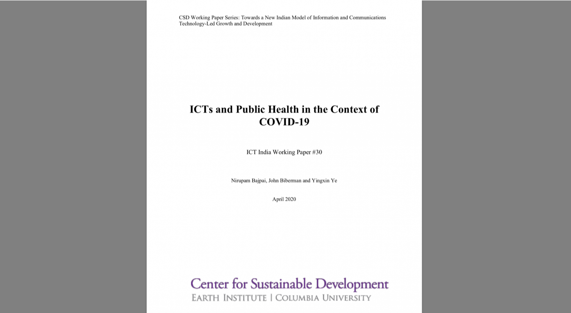 ICTs and Public Health paper screenshot