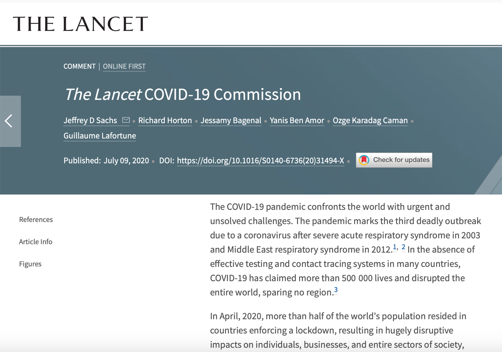 Lancet Commission Publication Screenshot